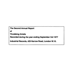 THROBBING GRISTLE The Second Annual Report  CD